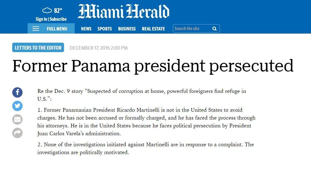 Miami Herald publica réplica de Ricardo Martinelli