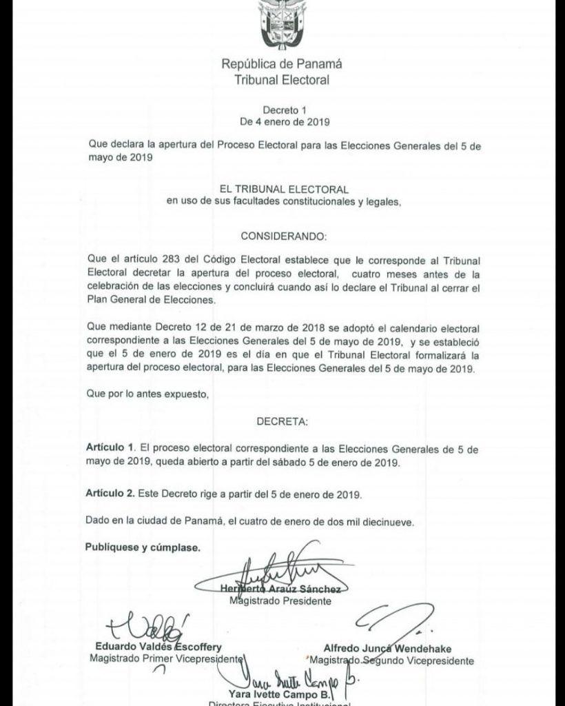 Tribunal Electoral oficializa apertura del Proceso Electoral 2019